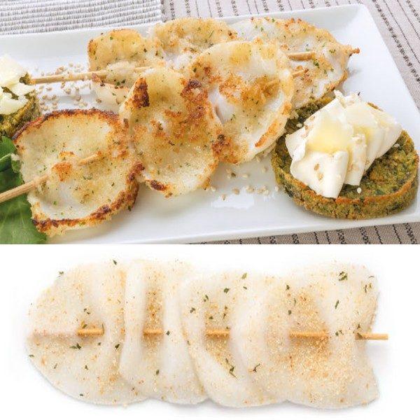 Brochettes de filet de calamar au gratin