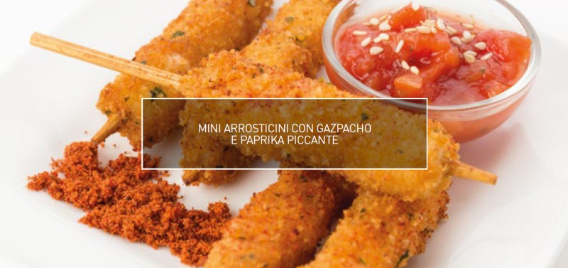 Mini brochettes de calamar, paprika et piment
